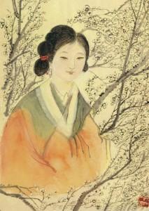 梅花少女_uma moça no meio de flores de ameixa_1